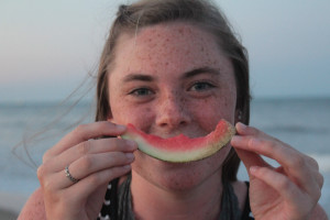Emma with watermelon rind smile